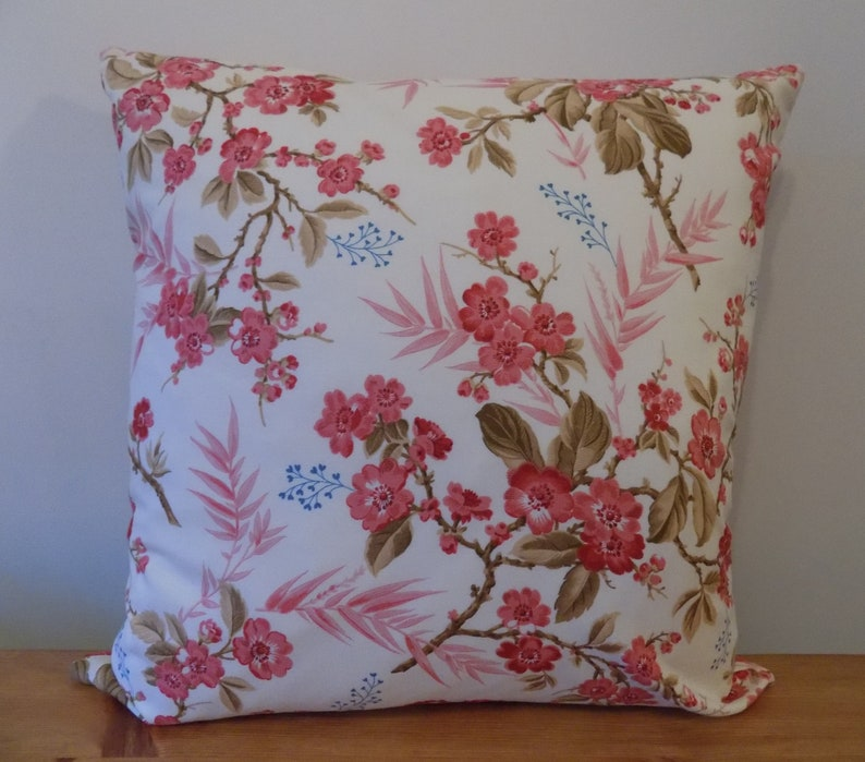 Rosebud Cushion Cover Decorative Throw Pillow Floral Cotton Canvas Fabric Handmade Products