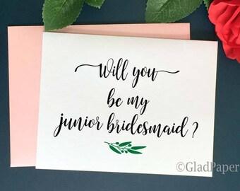 Will You be My Junior Bridesmaid Card, Bridesmaid proposal card, Bridal Party Card, Bridesmaid Card, Maid of Honor Card, Bridesmaid Gift
