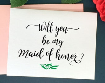 Will You be My Maid of Honor Card, Bridal Party Cards, Maid of Honor Card, Bridesmaid proposal card, Bridesmaid Card Bridesmaid Gift Wedding