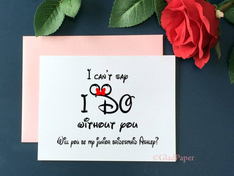 Disney ask bridesmaid cards Disney I can/'t say I do without you will You Be My Jr Bridesmaid card Personalize Bridesmaid Proposal Card