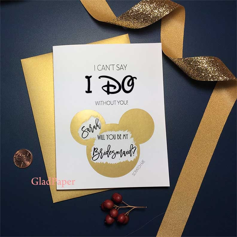 Personalized Bridesmaid Proposal Disney Scratch Off Bridesmaid Card