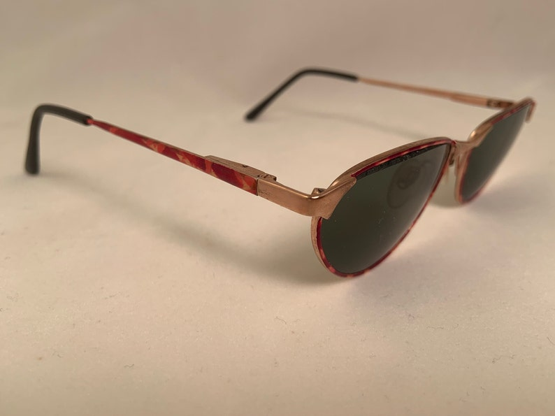 Vintage Cat Eye Sunglasses, Metal and Enamel, New Old Stock
