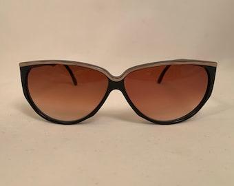 SAMS-BR Oversized Vintage 1980s Sunglasses in Black and Brown, New Old Stock. Samba