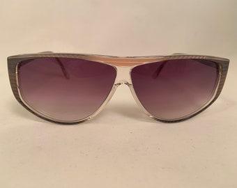 GIZS-G Oversized Vintage 1980s Cat Eye Style Sunglasses in Gray, New Old Stock, Gizelle