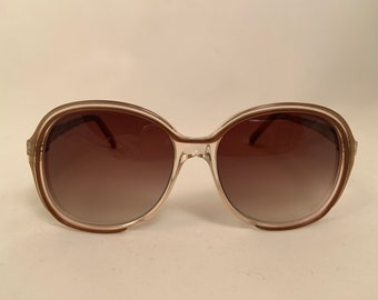 GUYS - Designer Guy Laroche Round Sunglasses in Crystal Brown, 1980's New Old Stock