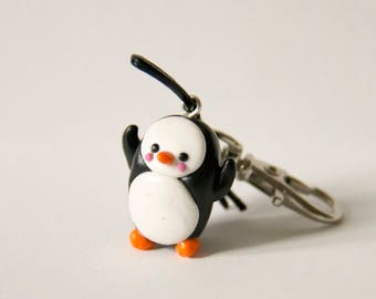 Penguin, Penguin, cute, winter, winter, polymer clay, clay polymer, fimo, keychain, key chain