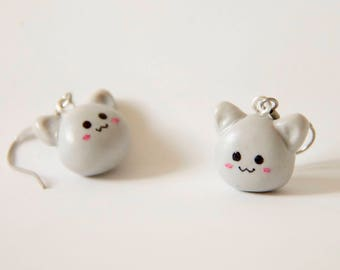 Chat, chaton, cat, kitty, earrings, boucles d'oreilles, fimo, polymer clay, kawaii, cute, mignon