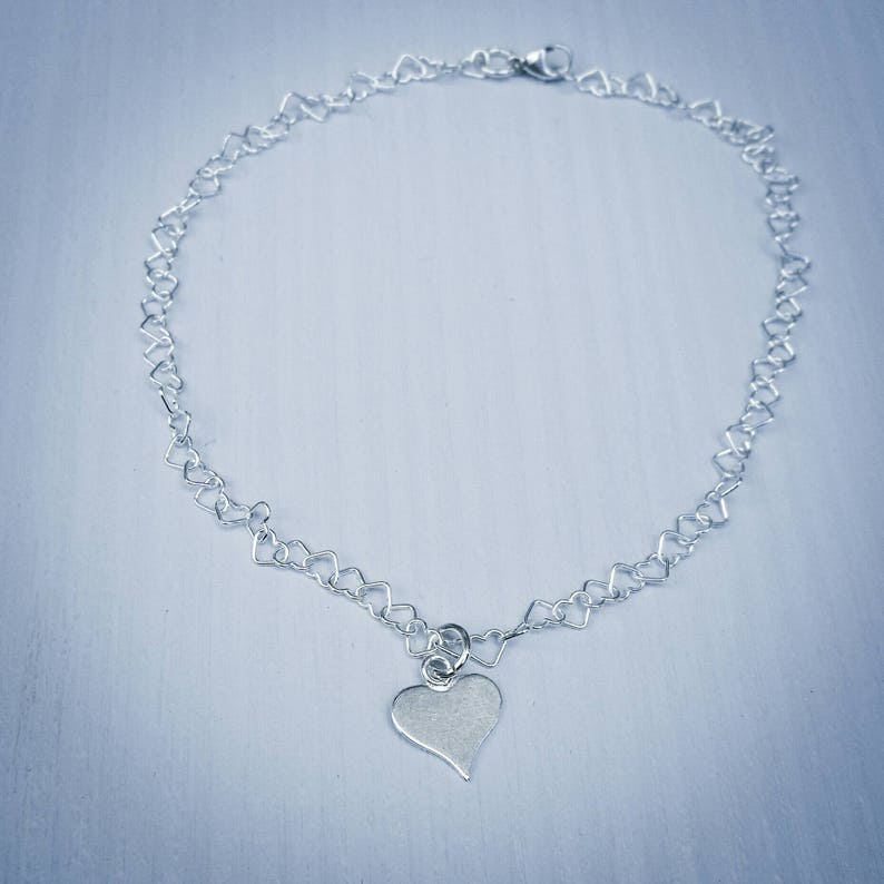 small tiny heart charm bracelet friendship bracelet sterling silver hearts chain gift for her Valentine/'s gift silver heart anklet