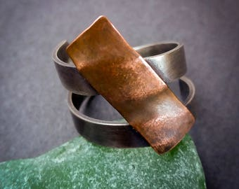 Sterling silver and copper adjustable ring, open silver ring, simple silver ring, statement ring, bypass ring, oxidised silver ring