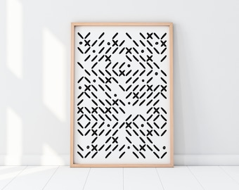 Midcentury Modern Art, Printable Wall Art, Abstract, Minimal Stitch Print,  Bedroom,