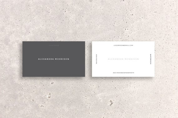 Minimal modern double sided business card template two tone etsy image 0 fbccfo