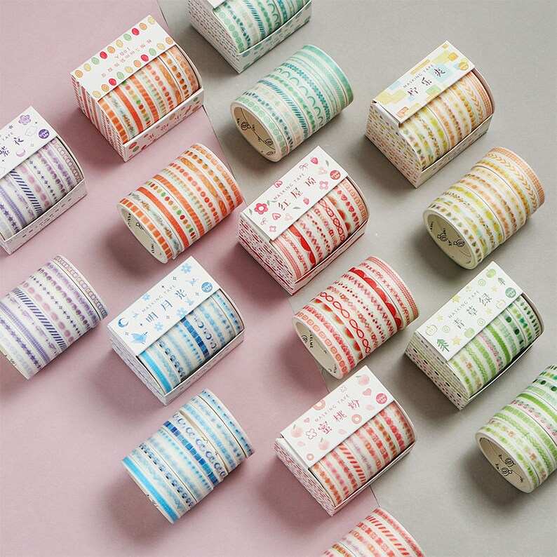 10Rolls Basic Color Washi Tape Masking Paper Craft Planner Scrapbooking Adhesive