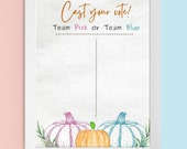Printable Fall Gender Reveal Cast Your Vote Guest Voting Chart Baby Prediction Little Pumpkin Blue or Pink Sign Autumn He or She Decoration