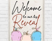 Printable Fall Welcome Gender Reveal Sign Baby Announcement Little Pumpkin is on the way Autumn Pregnancy Announcement He or She Decoration