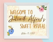 Bee Gender Reveal Sign Custom Printable Welcome Entrance Yard What Will it Bee Yellow Gold Hives Sex Reveal Instant Download Personalized