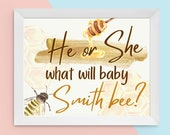 Personalized Printable He or She What Will Baby Bee Welcome Gender Reveal Sign Last Name Yellow Gold Hives Baby Reveal Sex Reveal Yard Sign