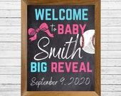 Printable Welcome Gender Reveal Sign Chalkboard Baseball or Bows Pink and Blue Digital Sign Last Name and Date Baby Announcement