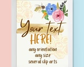 Personalized Printable What Will Baby Bee Gender Reveal Sign Yard Sign Your Text Here Create Your Own Unique Design Yellow Gold Honey Hive