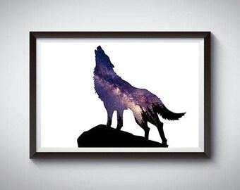 Wolf Print, Nursery Animal Print, Stars, Animal Wall Art, Wolf Poster