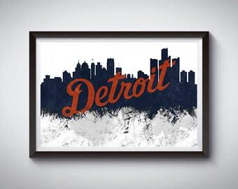 Detroit Skyline Art Poster Print, Detroit, Michigan Skyline Poster