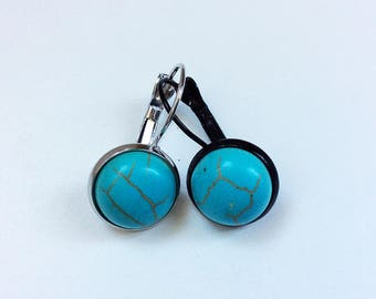 Cabochon 12 mm Turquoise gemstone earrings, several fasteners