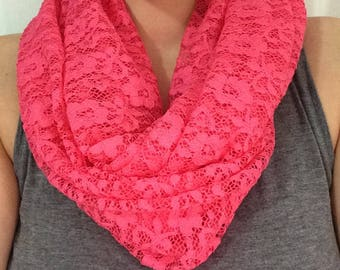 READY to ship infinity scarf - twice - Fuchsia/pink lace, flowers, very light