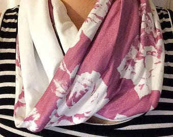 READY to ship infinity scarf - twice - plum, boho, Bohemian style flowers