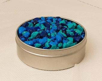 8 oz bag mixed blue pebble rocks planter topsoil pot diy terrarium kit supplies craft stones art colorful 1/2lb decorations cactus air plant