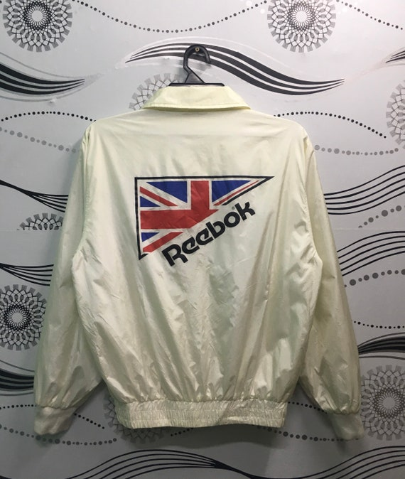 Vintage Reebok Men/'s Polyester 80/'s 90/'s White Blue Mock Full Zip Jacket Size XL