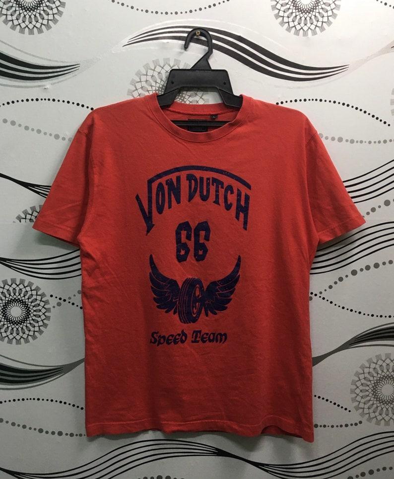 Von Dutch Speed Team 66 T Shirt Large Size Red Color