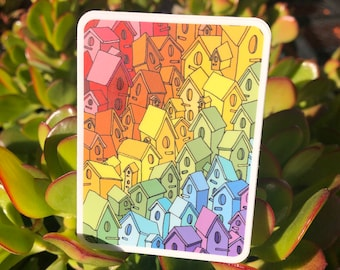 Illustrated Rainbow Birdhouse City Vinyl Sticker   Rectangle   3 inches