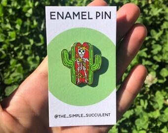 Skeleton Cactus Hard Enamel Pin 1.25 Inches