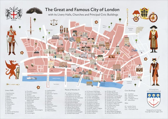 Map Of City Of London.The City Of London A2 Poster Map Of Livery Halls Places Of Worship And Principal Civic Buildings