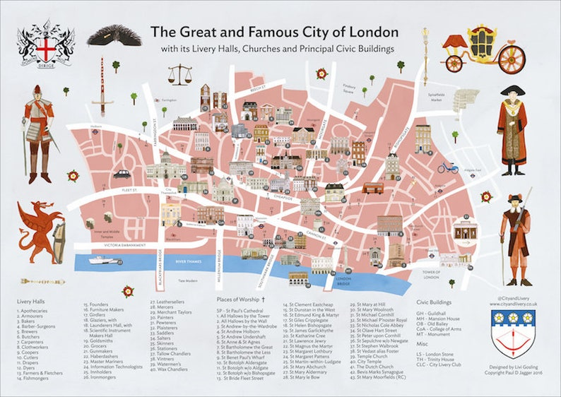City Of London Map.The City Of London A2 Poster Map Of Livery Halls Places Of Worship And Principal Civic Buildings