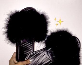 b95bf7f5c New Black Furry Faux Fur Nike Slides