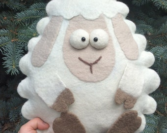 Soft toy pillow sheep of 100% wool. Sheep.