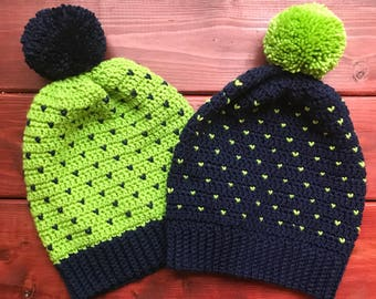 Seattle Super Slouch Beanie, Lime or Navy