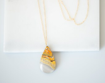 Bumblebee Agate Volcanic Natural Gemstone Necklace  / OOAK Necklace / Statement necklace / gift for her