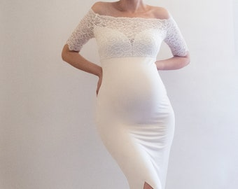 193583ca4139 PETUNIA Fitted Maternity Dress Maternity Dress for Baby Shower