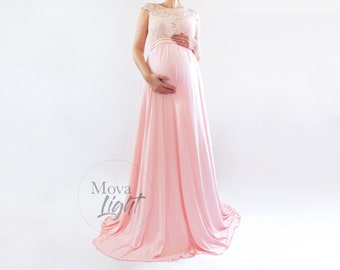 8e8613b6f3a39 MELANIE Blush Maternity Dress for Baby Shower, Maternity Gown for  Photoshoot, Modest Maternity Dress for Bridesmaid, Maxi Baby Shower Dress