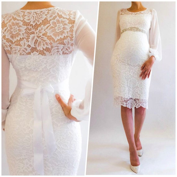 Short Maternity Wedding Dresses: AIMIE Short Wedding Dress Lace Maternity Dress For Baby