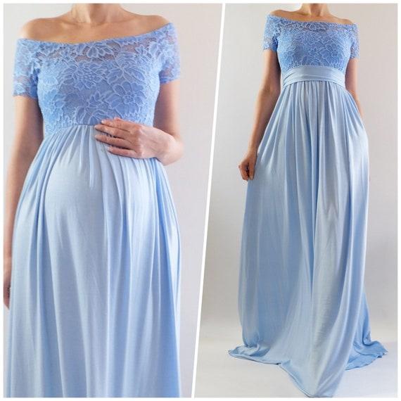 Ella Off Shoulder Maternity Dress For Baby Shower Blue Baby Etsy