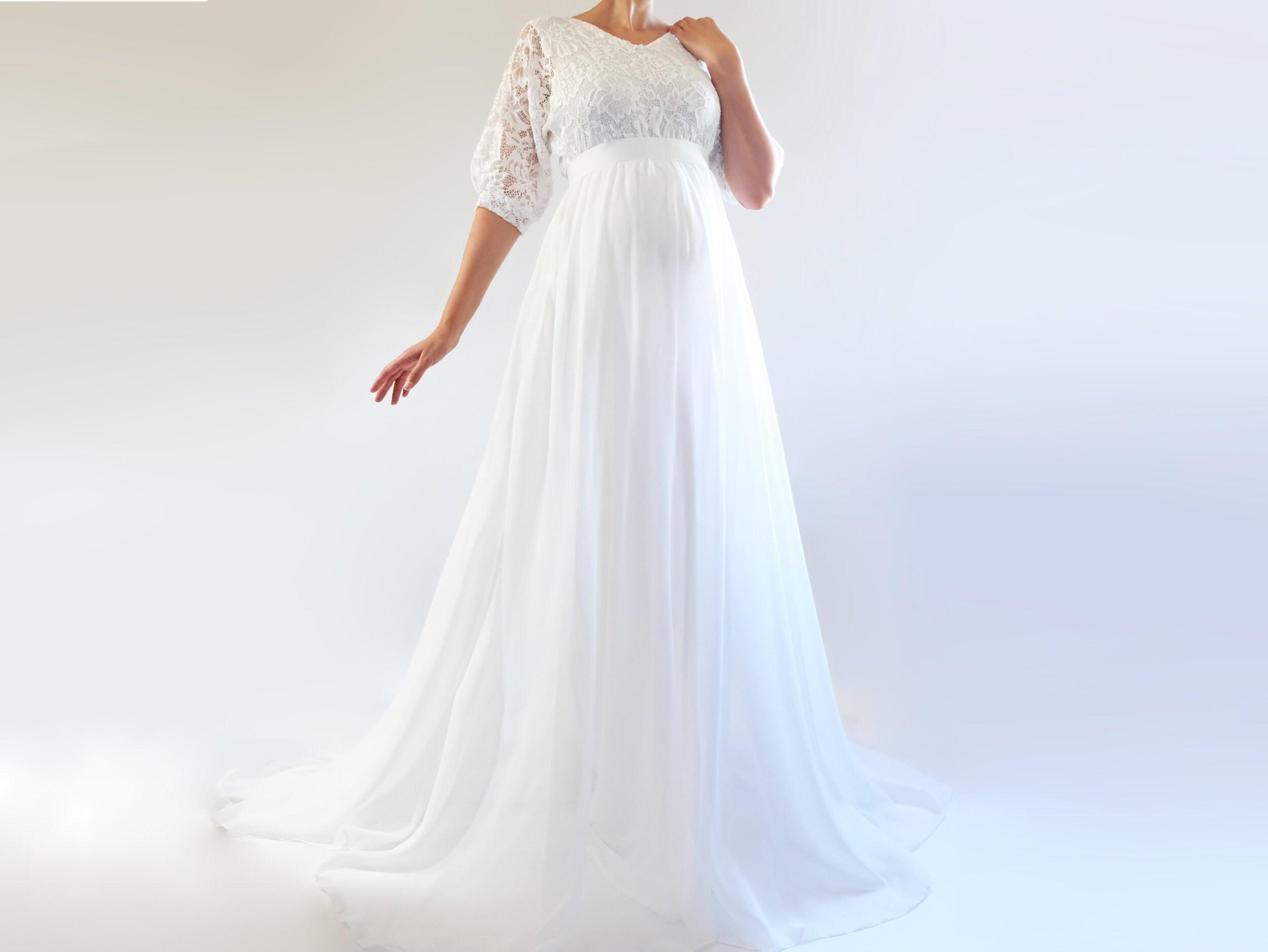 eb56a2f819 LUCY Boho Chiffon Wedding Dress Lace and Chiffon Maternity