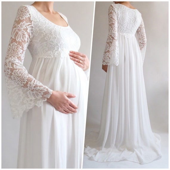 f0a0537e5f3f MARGARET Boho Wedding Dress Lace Maternity Dress for Baby   Etsy