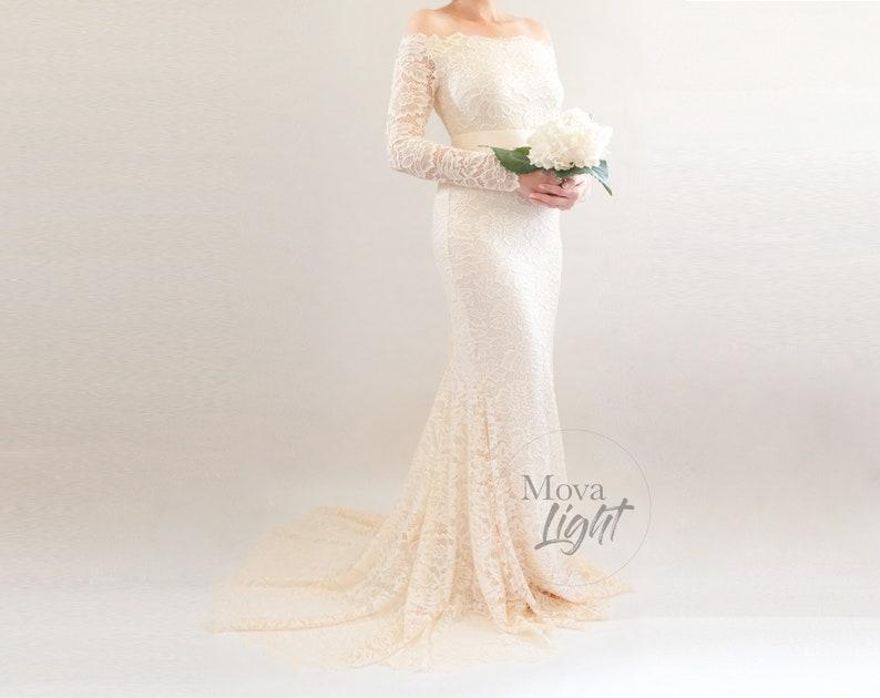 Jane Fitted Maternity Wedding Dress Beach Wedding Gown Elegant Formal Bridal Gown Boho Lace Wedding Gown Long Sleeved Wedding Dress