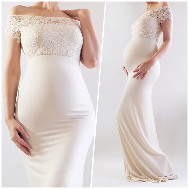 aa51cee4ab AVIVA Fitted Lace Maternity Dress for Baby Shower Dress