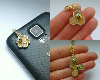 Polymer clay and metal honeycomb bee accessories