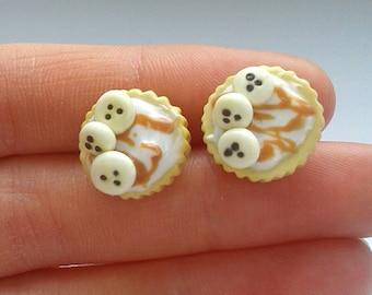 Polymer clay banoffee pie earrings