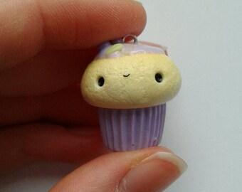 Polymer clay kawaii grape cupcake
