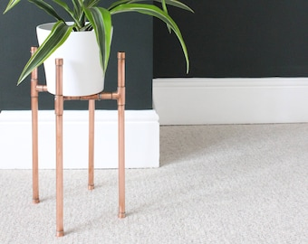 Copper Plant Stand - Plant Pot Stand - Copper Pipe - Handmade - Indoor Plant Stand - Copper Wedding Anniversary